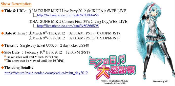 Miku Days(3/8, 3/9) 2012 Live on Nico Nico Douga