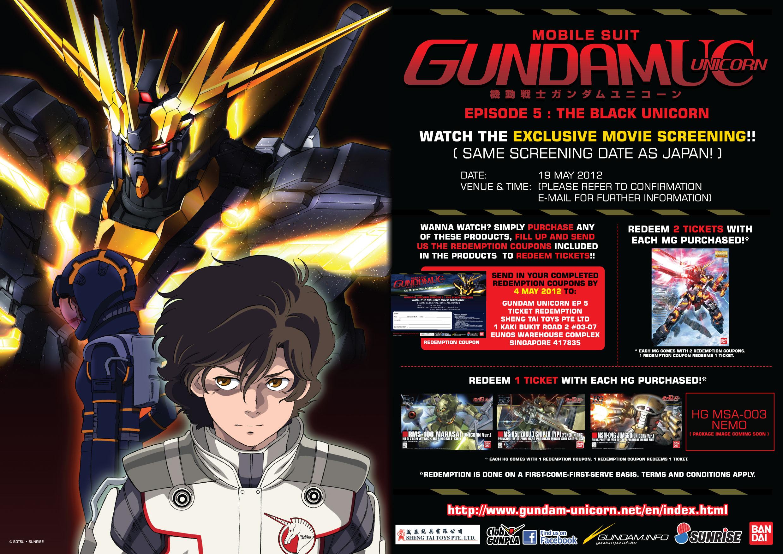 SG: Gundam Unicorn Ep5 Screening Premier Invites